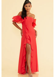 Off Shoulder Ruffle <br>Maxi Dress