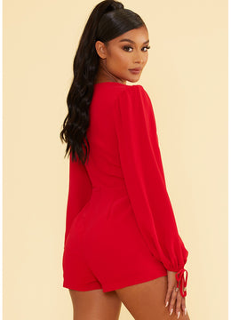 Red Long Sleeve <br>Romper