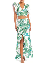 Palm Leaves Ruffles <br>Skirt Set