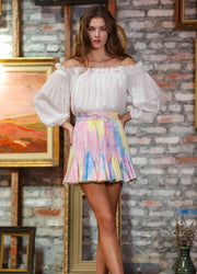 Tie Dye <br>Ruffle Mini Skirt