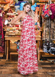 Red Flowers <br>Maxi Dress
