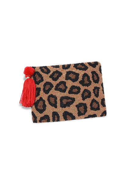 Leopard <br>Beaded Clutch
