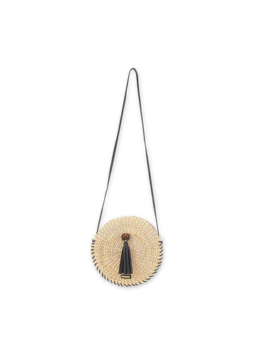 Crossbody Black <br>Natural Straw