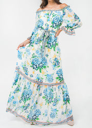 Printed Off Shoulder <br>Maxi Dress