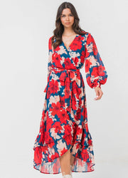 Red flowers <br>Midi Dress