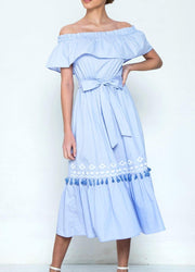 Blue Off Shoulder <br>Maxi Dress