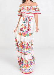 White Printed <br>Maxi Dress