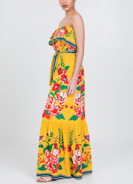 Yellow Floral <br>Maxi Dress