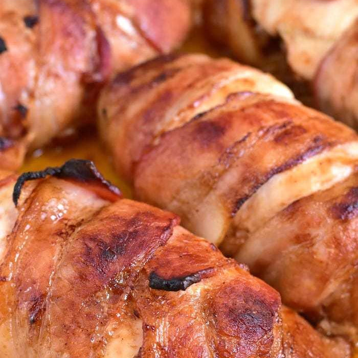 Chicken Smokies (Mozzarella, wrapped in Bacon & BBQ sauce)