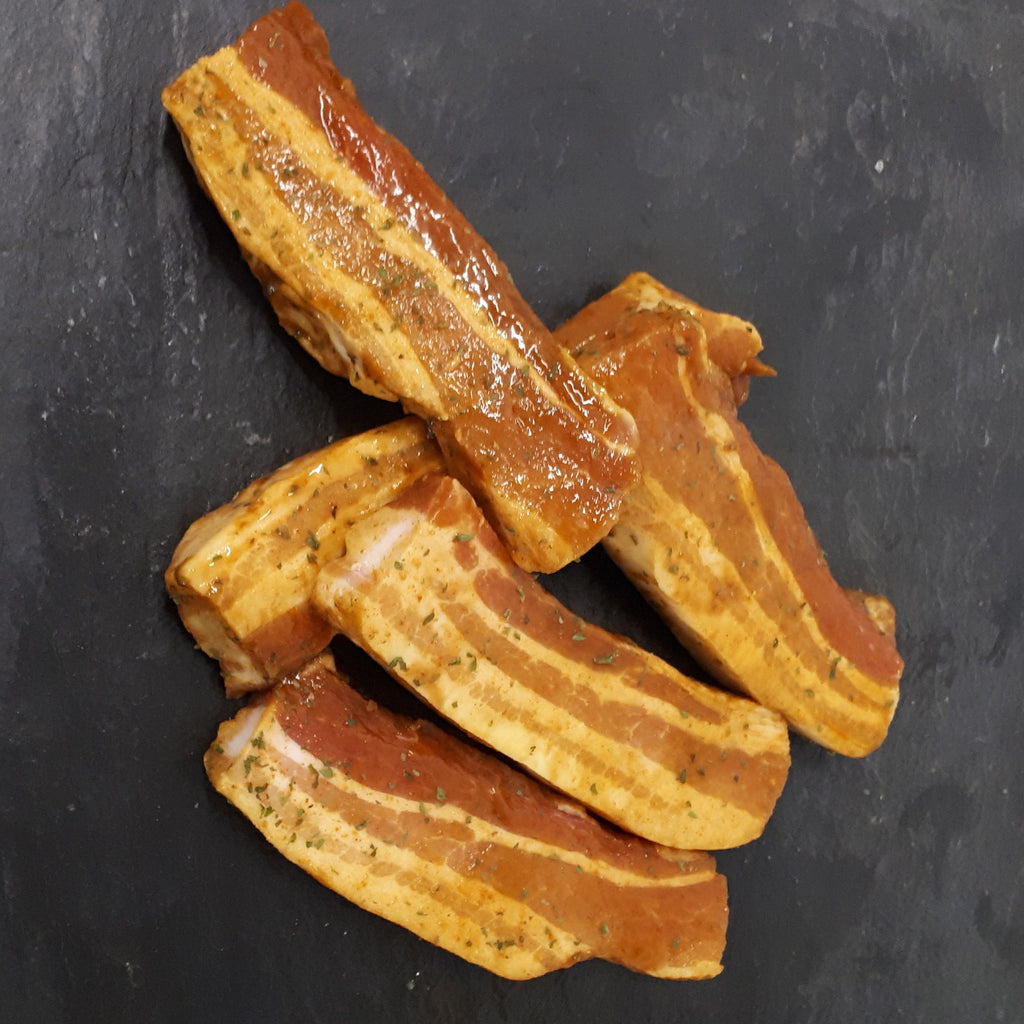 Pork belly Strips in Caribbean Marinade