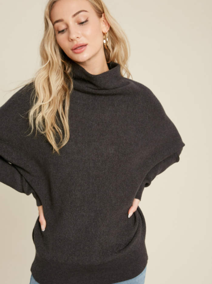 Capsule Wardrobe Ribbed Sweater (Charcoal)