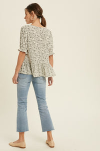 Sweet Floral Ruffle Top
