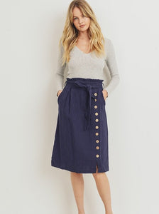 Navy Textured Button Skirt