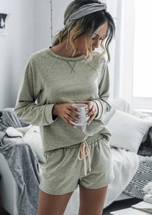 Weekend Lounge Pajama Set (Light Grey)