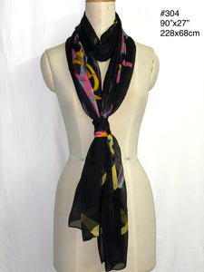 Summer collection - printed super light silk chiffon scarf