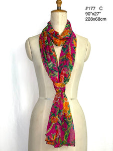 Summer collection - printed silk crinkle scarf