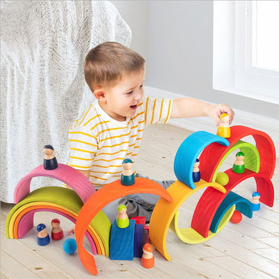 Wooden Rainbow Building Blocks Kids Educational Toy - BigBoomidea