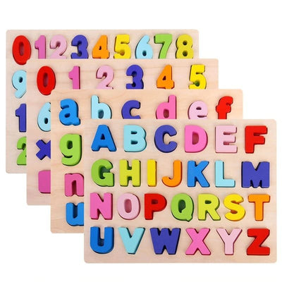Wooden Alphabet And Number Home School Puzzle Board - BigBoomidea