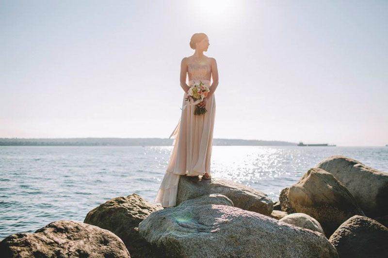 Real-Bride-Ocean-Truvelle-Rochelle-wedding-dress-sunshine-beach-outdoor-photography-vancouver