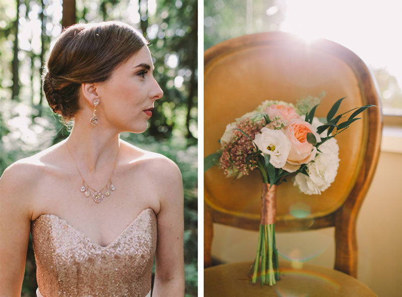 sequin-wedding-dress-bride-rose-gold-chandelier-drop-earrings-drop-necklace-the-borrowed-collection
