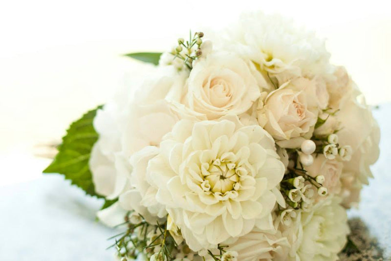 classic white wedding bouquet roses peonies