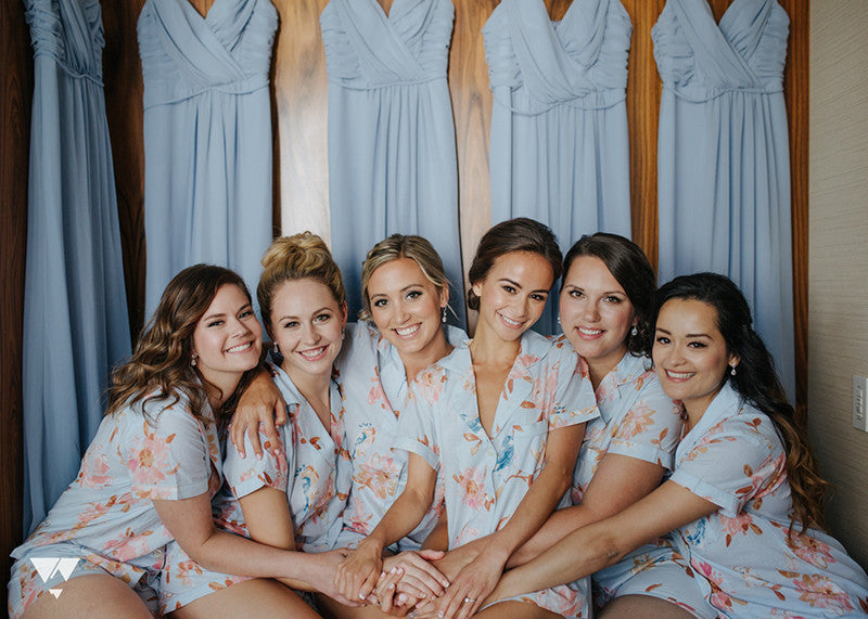 vancouver bride and bridal party getting ready floral rompers