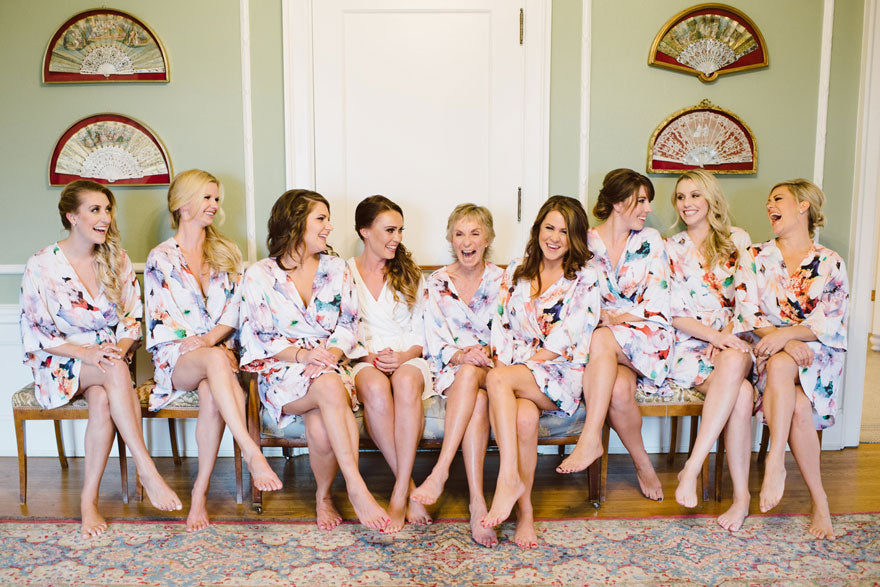 Real bride and bridesmaids getting ready at Hycroft Manor in Piyama Bridal Robes