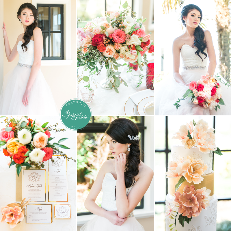 garden inspired wedding inspo with pops of pink and gold