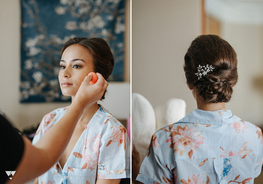 bride getting ready vancouver wedding line artistry low updo