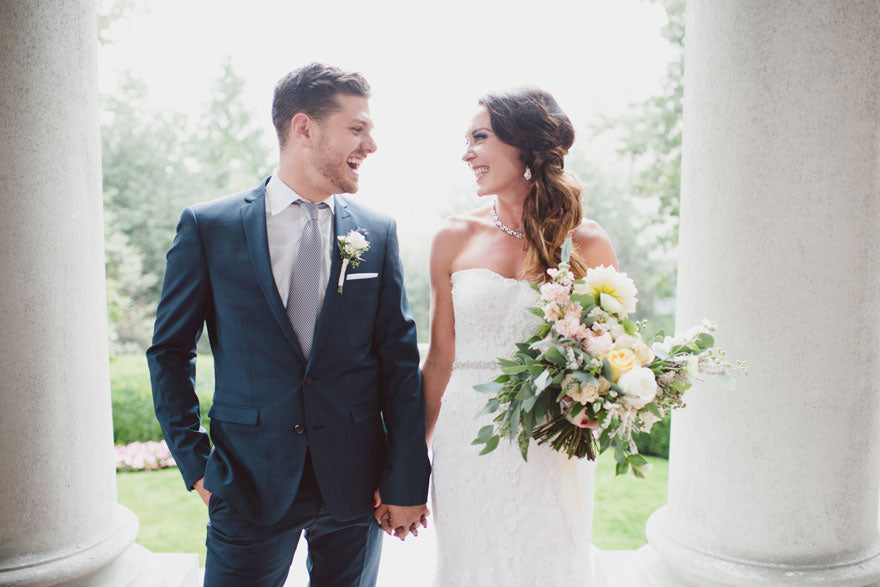 stylish couple meghan and zach at their Hycroft Manor Vancouver wedding