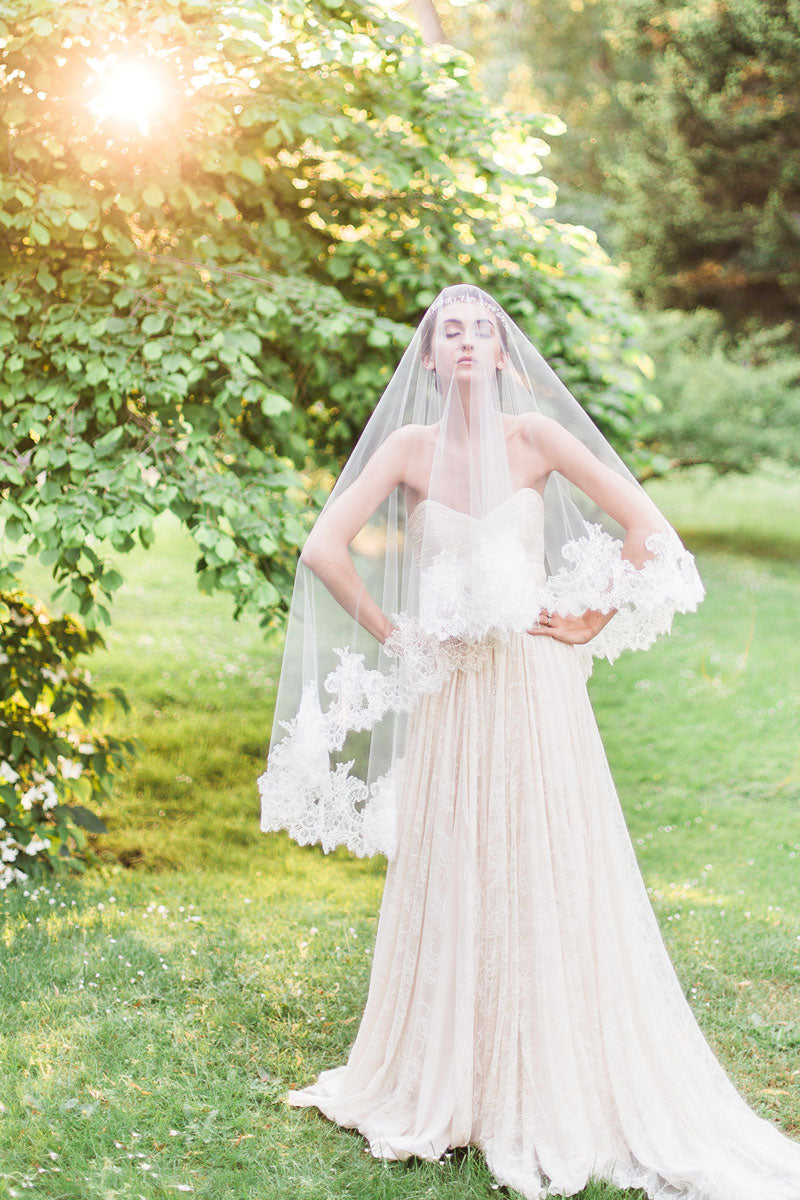 rent our Cassia chantilly lace fingertip drop veil
