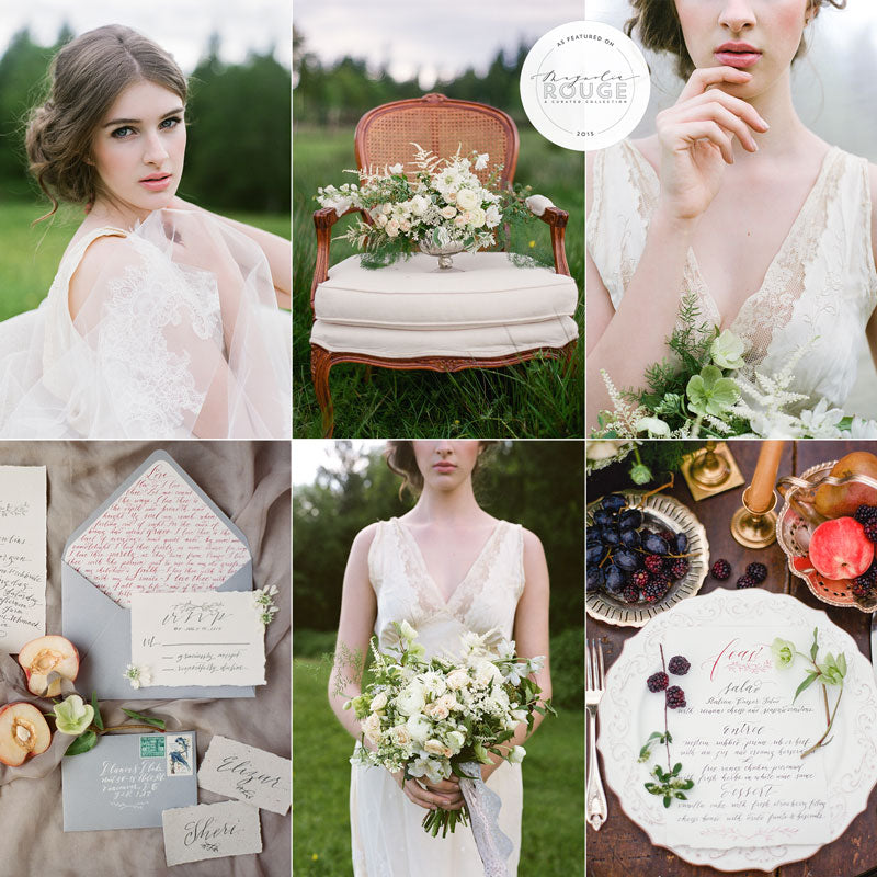 classic outdoor wedding and bridal beauty inspiration with light blues and mauves