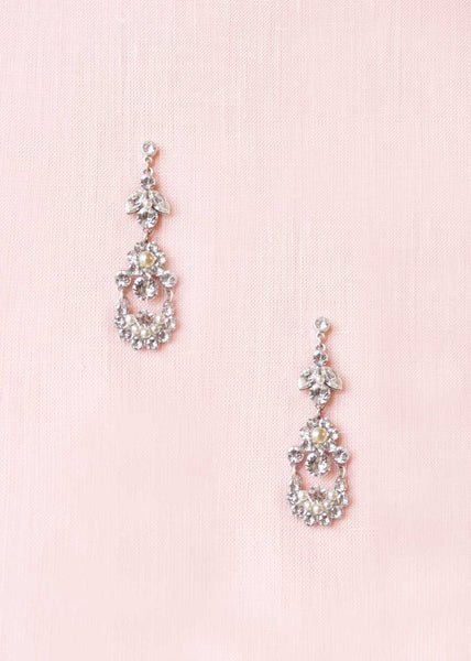 delicate crystal pearl bridal chandelier drop earrings