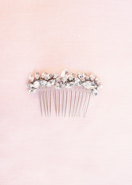 Lotus Flower Crystal Comb (Silver)