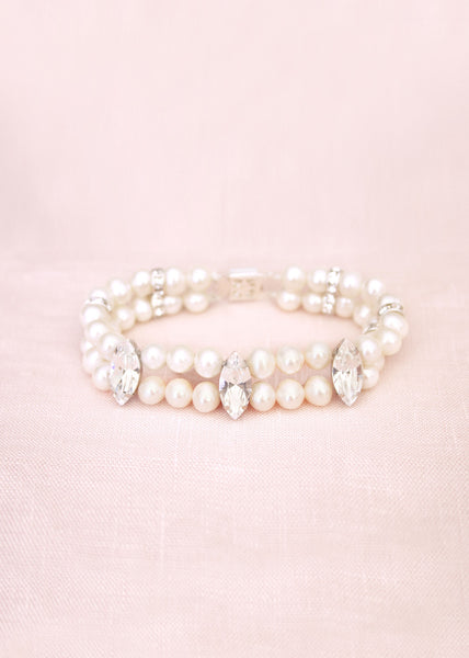 double strand pearl and swarovski crystal bracelet