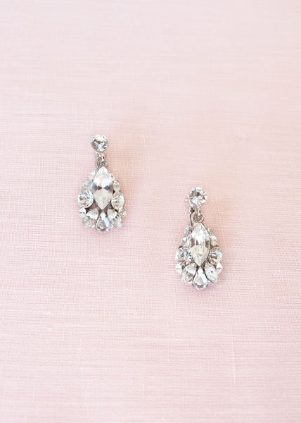Petite Crystal Drop Earrings (Silver)
