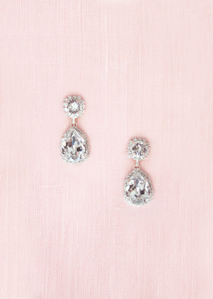 Adeline Crystal Teardrop Earrings (Silver)