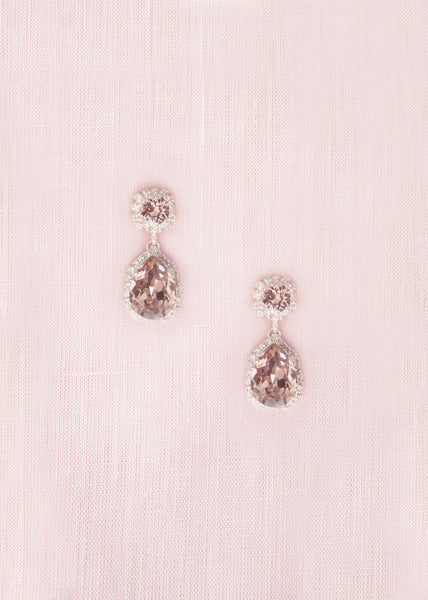 Adeline Crystal Teardrop Earrings (Blush)
