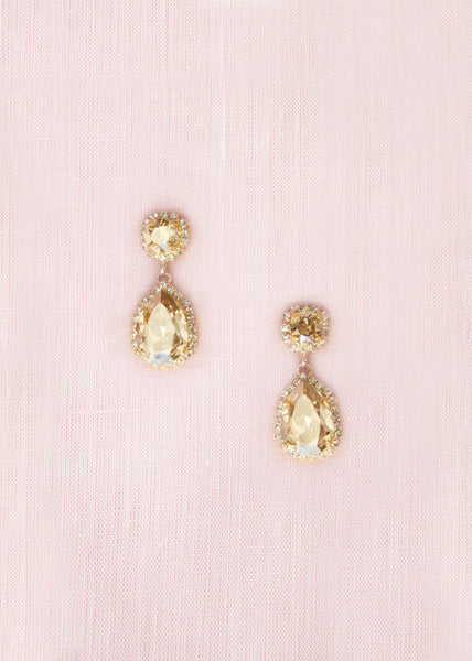 Adeline Crystal Teardrop Earrings (Champagne)