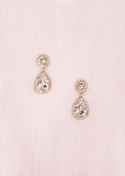 Adeline Crystal Teardrop Earrings (Gold)