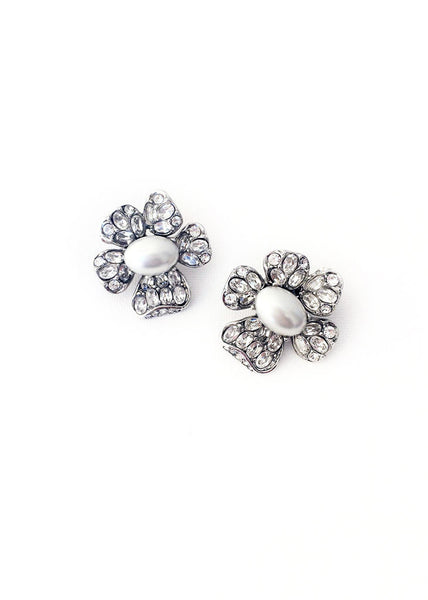 Crystal & Pearl Floral Earrings