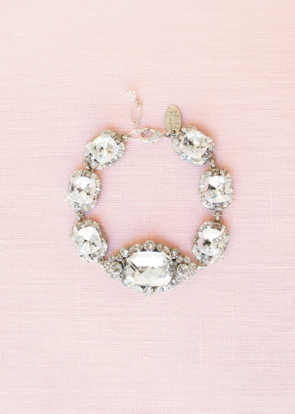 crystal vintage-inspired bridal bracelet with art deco brooch accents