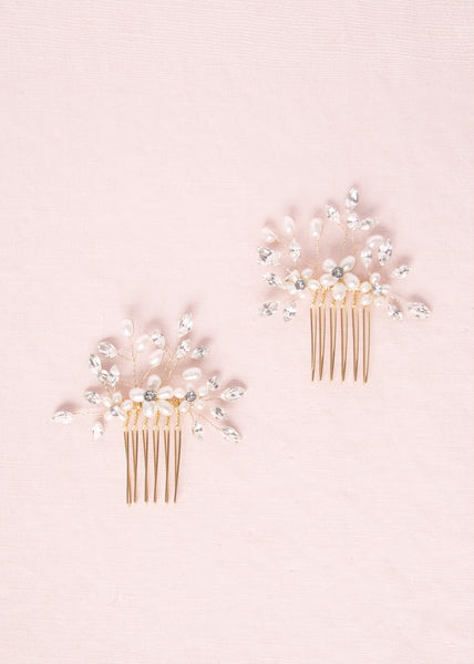 Delicate Pearl & Crystal Combs (Gold)