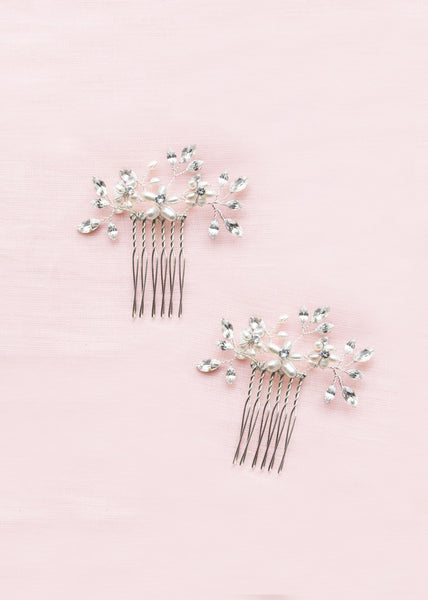 Delicate Pearl & Crystal Combs (Silver)