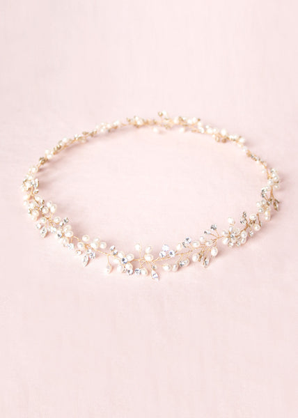 Delicate Pearl & Crystal Halo (Gold)