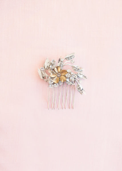 Gold and crystal Emme bridal comb by Enchanted Atelier