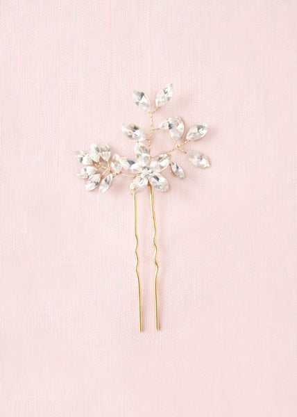 Gold Swarovski crystal bridal hair pin