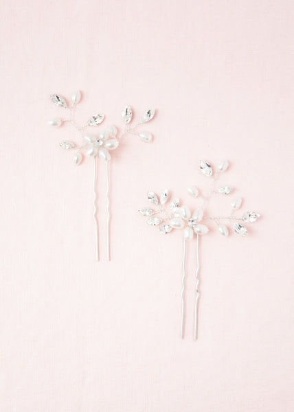 Everthine Pearl & Crystal Hair Pins (Silver)