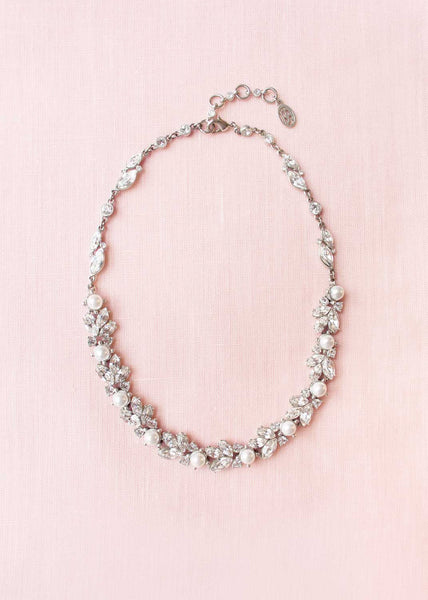 Floral crystal & pearl necklace by Ben-Amun
