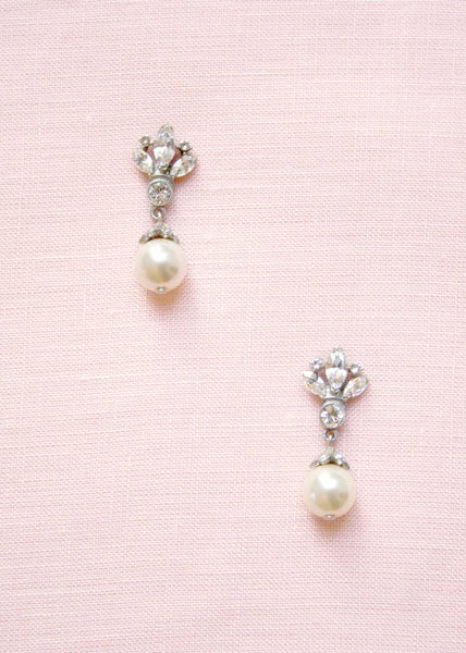 ben-amun floral crystal & pearl small drop earrings
